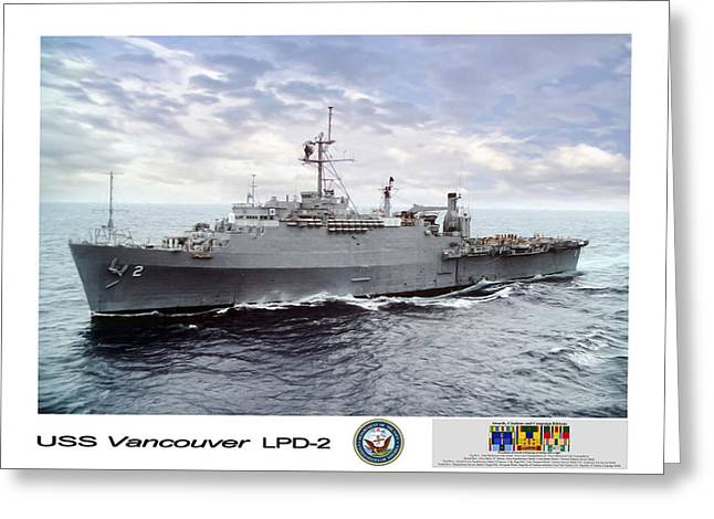 Uss Greeting Cards - USS Vancouver LPD-2 Greeting Card by Peter Chilelli