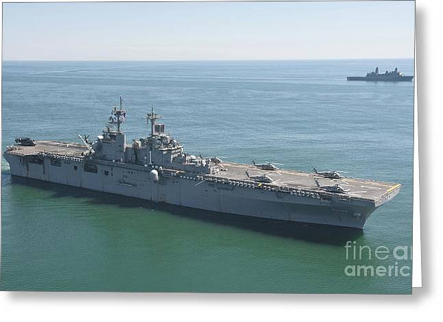 Rotorcraft Photographs Greeting Cards - Uss Wasp And Uss San Antonio Transit Greeting Card by Stocktrek Images
