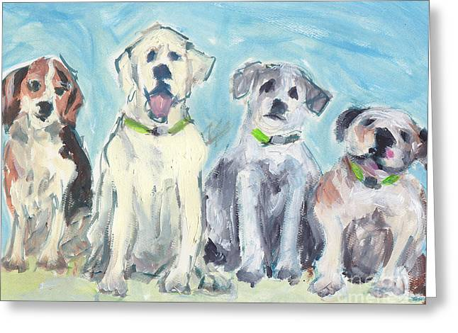 Loose Style Paintings Greeting Cards - Usual Suspects Greeting Card by Robin Wiesneth
