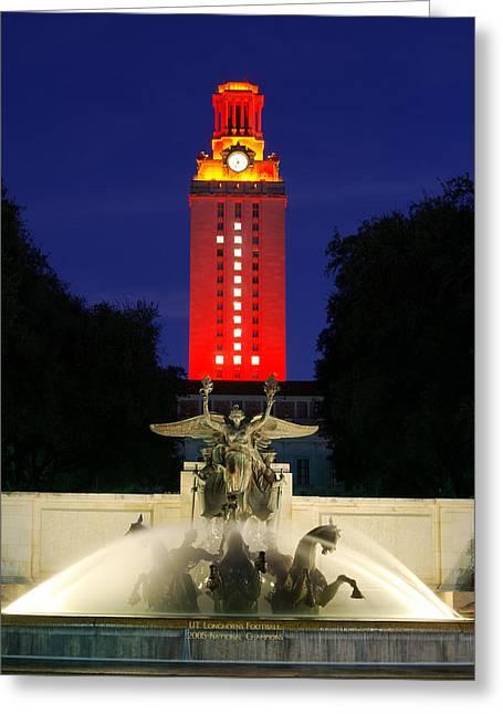 Ut Austin Tower Orange Greeting Card by Lisa  Spencer