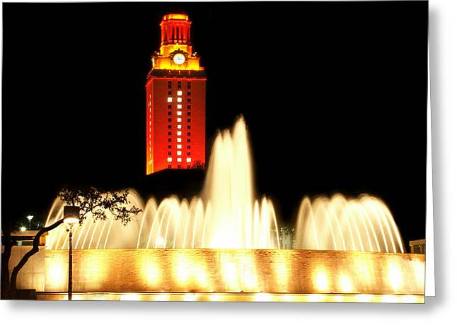 Clock Greeting Cards - UT Tower Championship Win Greeting Card by Marilyn Hunt