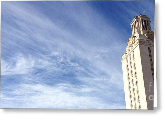University Of Texas Greeting Cards - UT Tower Clouds Greeting Card by Nexus Ninethousand