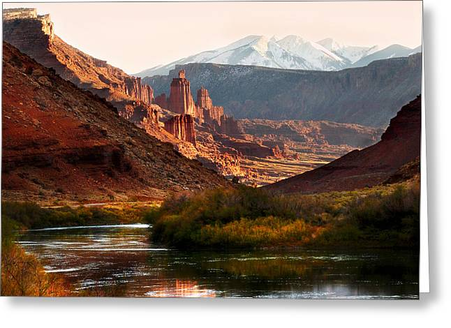 Snow Capped Greeting Cards - Utah Colorado River Greeting Card by Marilyn Hunt