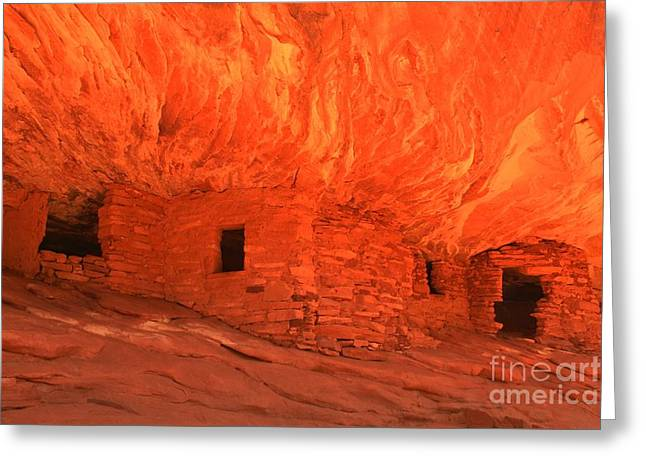 Ancient Ruins Greeting Cards - Utah Desert Flames Greeting Card by Adam Jewell