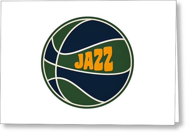 Utah Jazz Greeting Cards - Utah Jazz Retro Shirt Greeting Card by Joe Hamilton
