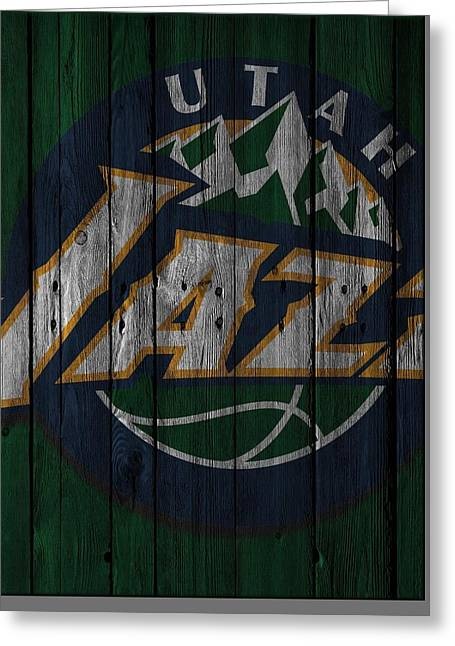 Utah Jazz Greeting Cards - Utah Jazz Wood Fence Greeting Card by Joe Hamilton