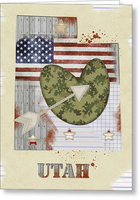 Utah Mixed Media Map Greeting Card by Mihaela Pater
