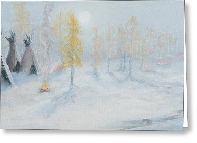 Jerry Mcelroy Greeting Cards - Ute Winter Camp Greeting Card by Jerry McElroy