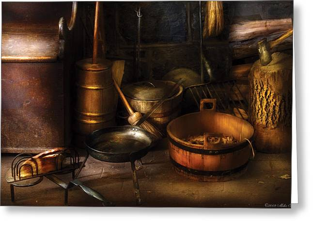 Toaster Greeting Cards - Utensils - Colonial Utensils Greeting Card by Mike Savad