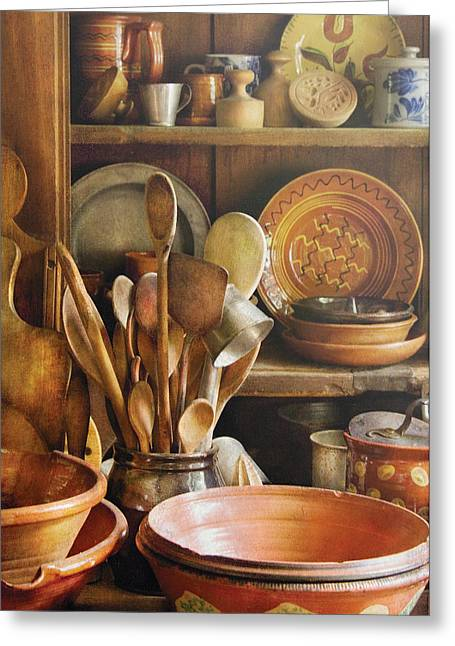 Wooden Bowl Greeting Cards - Utensils - Remembering Momma Greeting Card by Mike Savad