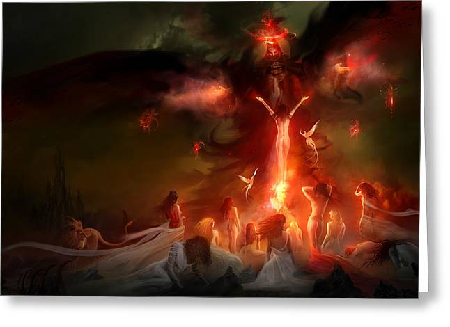 Magic Greeting Cards - Utherworlds Hellzunas Greeting Card by Philip Straub