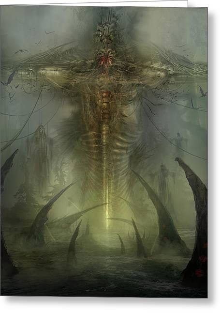 Evil Greeting Cards - Utherworlds Lake Odium Greeting Card by Philip Straub