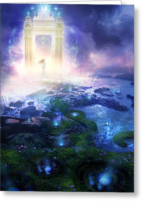 Surreal Mixed Media Greeting Cards - Utherworlds Passage To Hope Greeting Card by Philip Straub