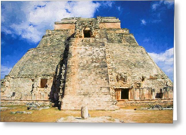 Civilization Greeting Cards - Uxmal Mayan Ruins Greeting Card by Roy Pedersen