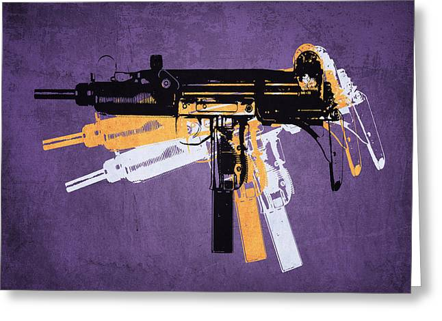 """pop Art"" Greeting Cards - Uzi Sub Machine Gun on Purple Greeting Card by Michael Tompsett"