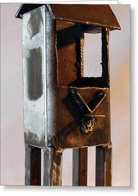 Rust Sculptures Greeting Cards - V Flag and Step View One Greeting Card by Kim Iberg
