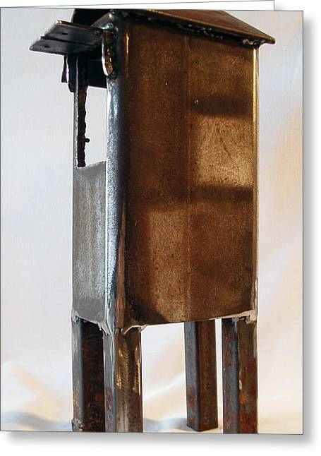 Rust Sculptures Greeting Cards - V Flag and Step  View Two Greeting Card by Kim Iberg