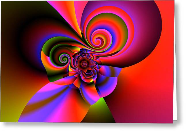 Abstract Colorful Algorithmic Digital Contemporary Greeting Cards - V plate 296 Greeting Card by Claude McCoy