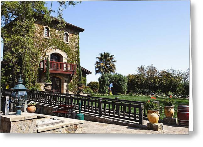Tuscan Valley Greeting Cards - V Sattui Winery Building Napa Valley California Greeting Card by George Oze