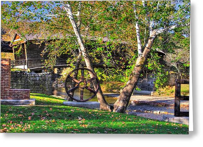 Va Country Roads - Humpback Covered Bridge Over Dunlap Creek No. 13a And Lovework - Alleghany County Greeting Card by Michael Mazaika