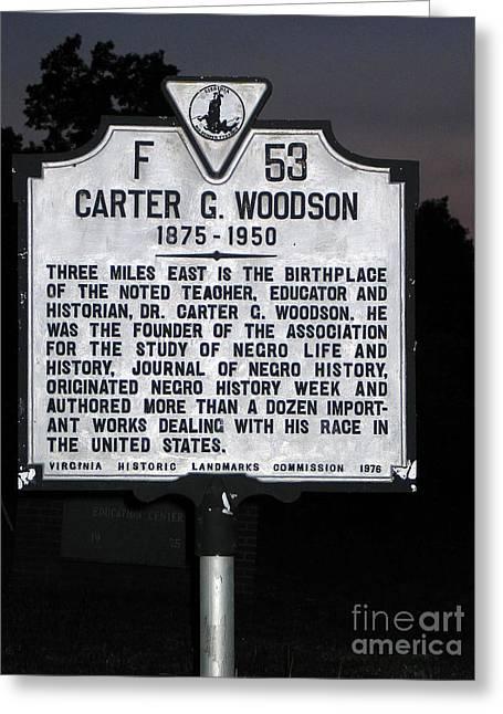 Woodson Greeting Cards - VA-F53 Carter G. Woodson 1875-1950 Greeting Card by Jason O Watson