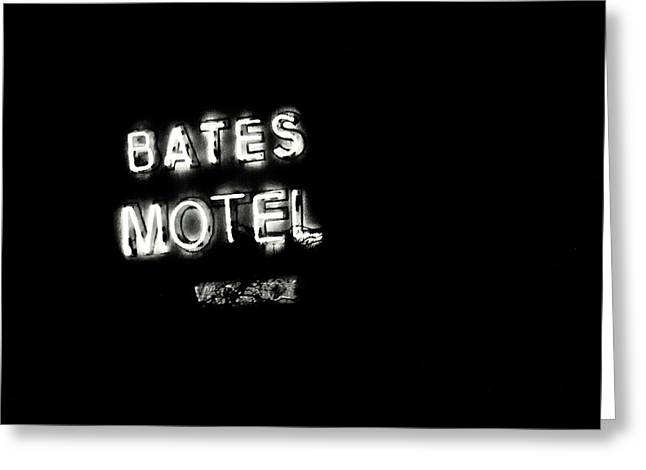 Films By Alfred Hitchcock Photographs Greeting Cards - Vacancy at Bates Motel bw Greeting Card by Denise Dube