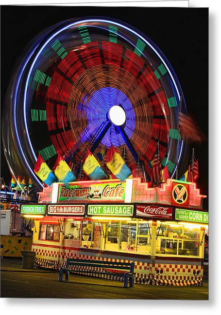 Street Fairs Greeting Cards - Vacant carnival bench Greeting Card by James BO  Insogna