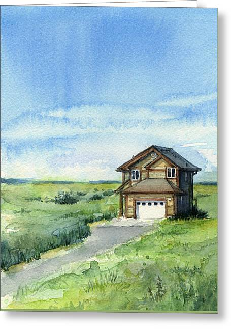 Vacation House In A Field - Watercolor - Long Beach, Wa Greeting Card by Olga Shvartsur