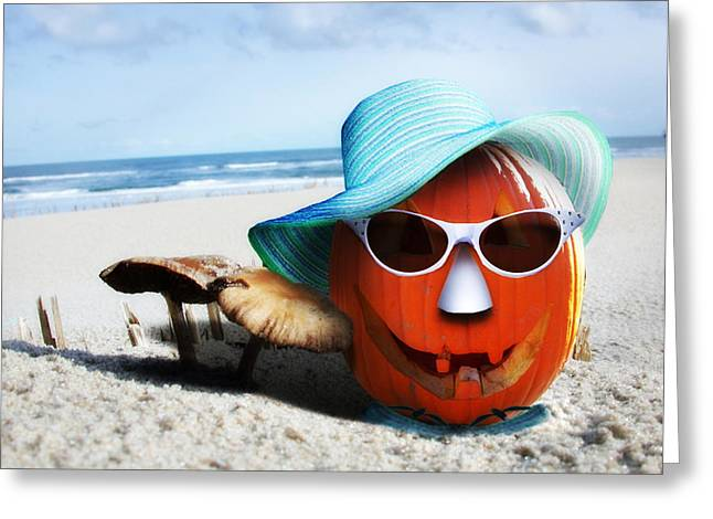 Tricks Greeting Cards - Vacationing Jack-o-lantern Greeting Card by Gravityx9 Designs