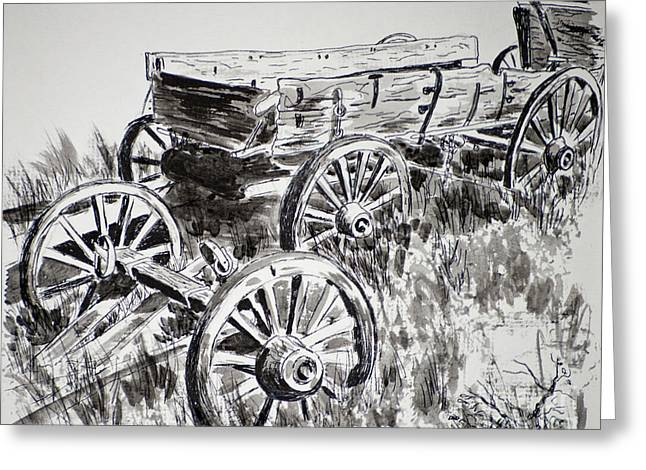 Wagon Wheels Drawings Greeting Cards - Vaders Wagon Greeting Card by Judy Sprague