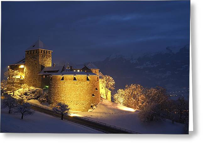 Winter Night Greeting Cards - Vaduz Castle at Dusk Greeting Card by Aymeric Gouin