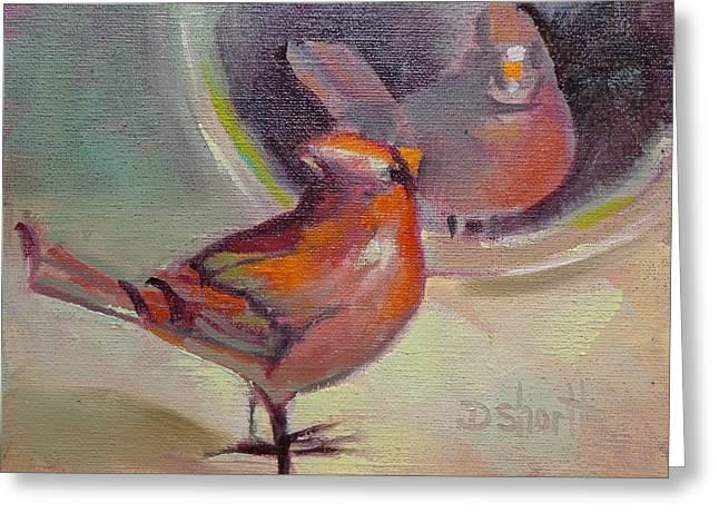 Donna Shortt Greeting Cards - Vain Cardinal Greeting Card by Donna Shortt