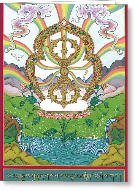Bodhisatva Greeting Cards - Vajra Greeting Card by Carmen Mensink