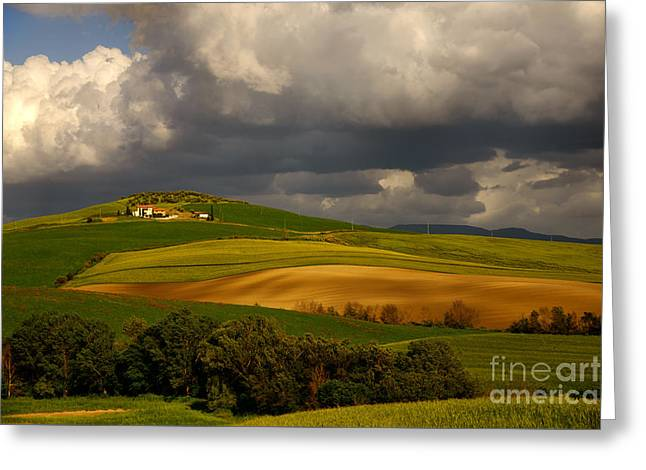 Tuscan Sunset Greeting Cards - Val dOrcia Greeting Card by Maurizio Martini