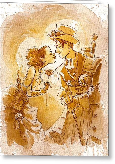 Steampunk Greeting Cards - Valentine Greeting Card by Brian Kesinger