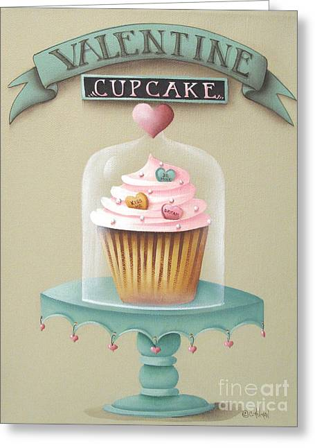 Dessert Art Greeting Cards - Valentine Cupcake Greeting Card by Catherine Holman