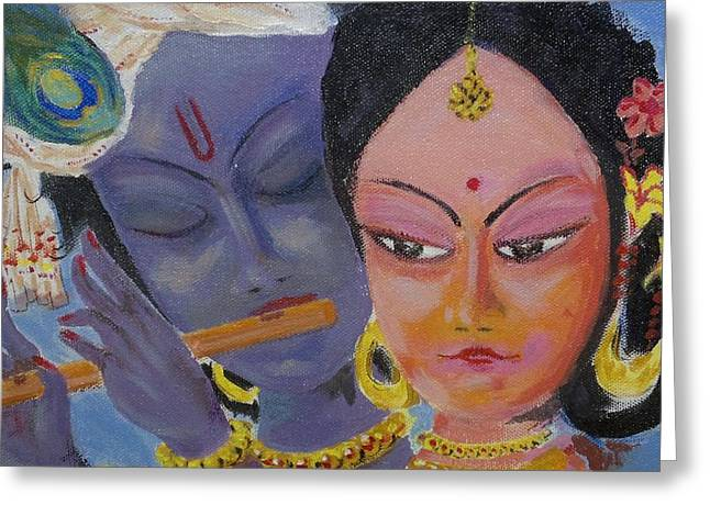 Gopala Greeting Cards - Valentine divine Greeting Card by Guntury Venkateswararao