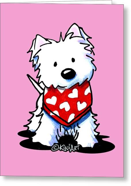 Valentine Westie Greeting Card by Kim Niles