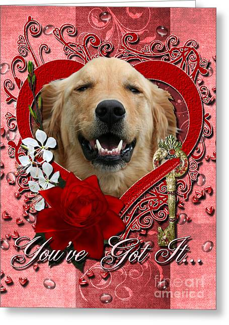Valentines - Key To My Heart Golden Retriever Greeting Card by Renae Laughner