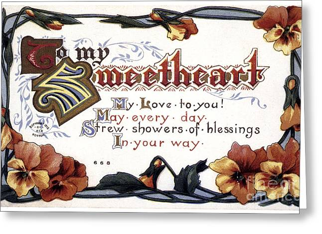 Aodng Greeting Cards - Valentines Day Card, 1910 Greeting Card by Granger