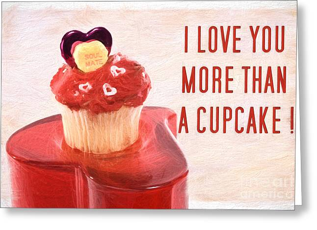 I Love Cupcakes Digital Art Greeting Cards - Valentines Day Cupcake with Words of Love Pencil Sketch Greeting Card by Vizual Studio