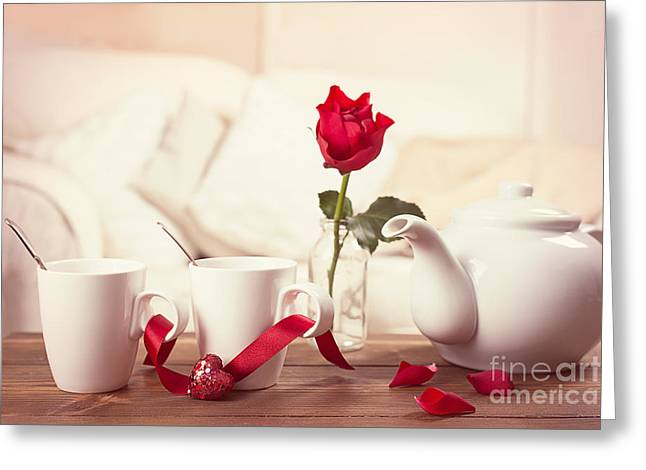 Valentines Day Tea Cups Greeting Card by Amanda And Christopher Elwell