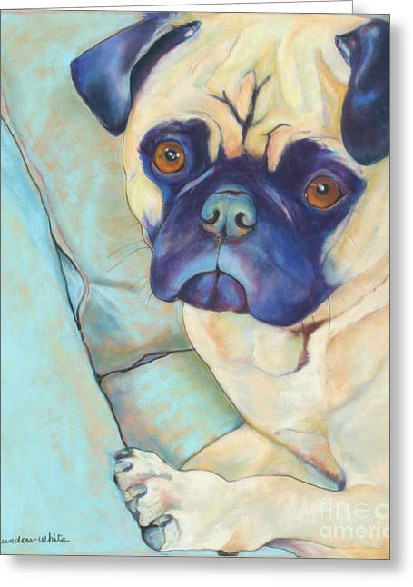 Commissions Pastels Greeting Cards - Valentino Greeting Card by Pat Saunders-White