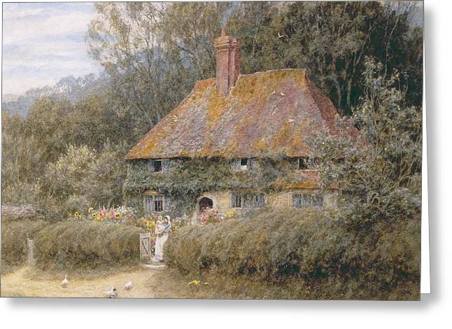 Recently Sold -  - Mother Goose Greeting Cards - Valewood Farm under Blackwood Surrey  Greeting Card by Helen Allingham