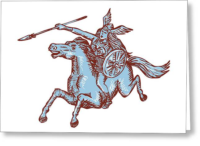 Etching Digital Greeting Cards - Valkyrie Warrior Riding Horse Spear Etching Greeting Card by Aloysius Patrimonio
