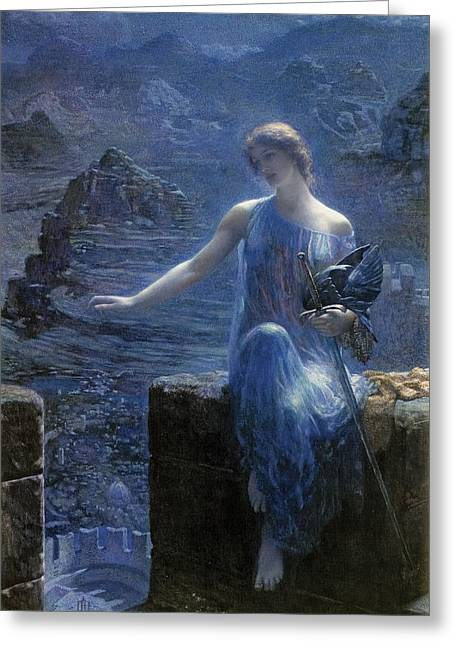 Norse Greeting Cards - Valkyries Vigil Greeting Card by Edward Robert Hughes