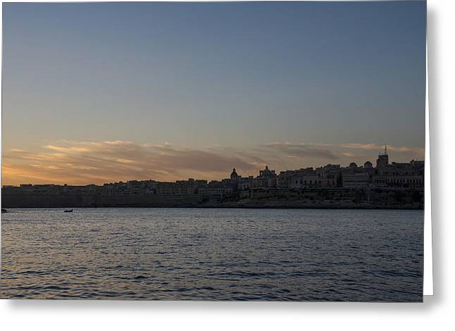 Valletta Malta Magic Hour Skyline Greeting Card by Georgia Mizuleva
