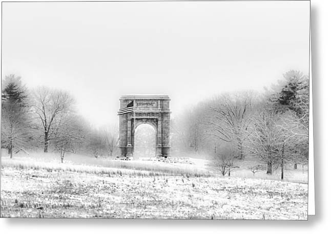 Greeting Cards - Valley Forge Arch in Black and White - Winter Scene  Greeting Card by Bill Cannon