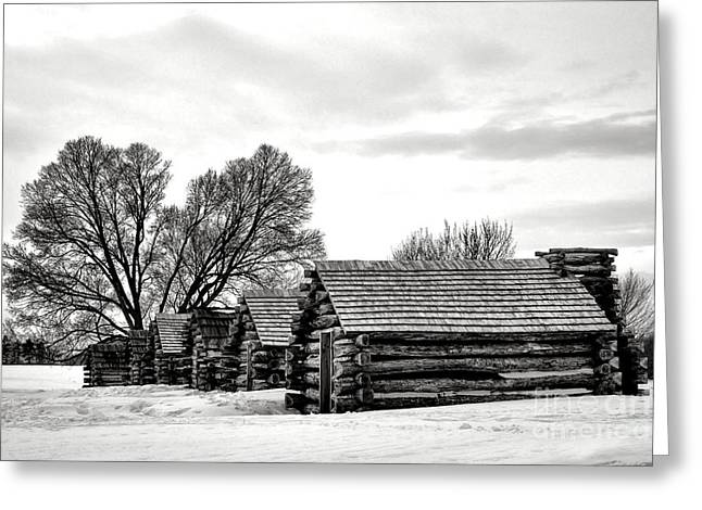 Valley Forge Barracks In Winter  Greeting Card by Olivier Le Queinec