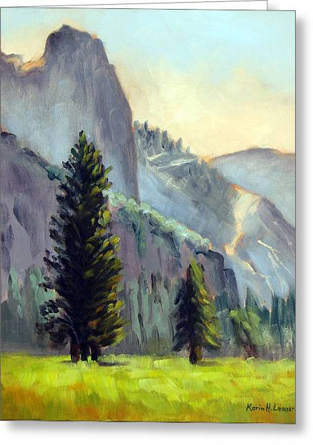 Valley Glow Yosemite Np Greeting Card by Karin  Leonard